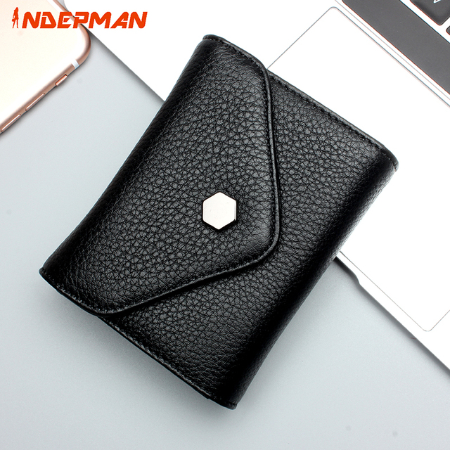 Card Bag for Women ID Card Purse Woman Short Wallet Genuine Leather Wallet Credit Card Pack