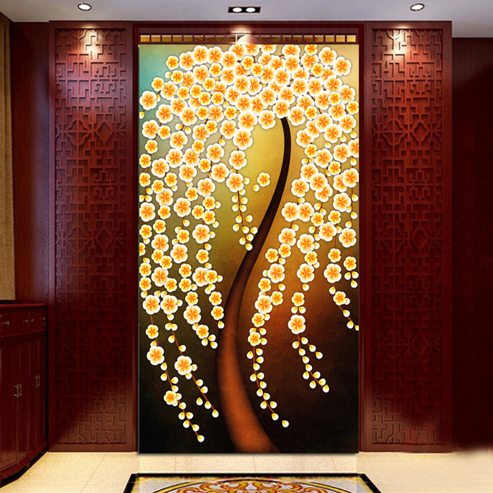 yazi HD Print Art Personalized Size Golden Tree PVC Wallpaper Door ...
