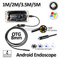 2MP 8mm HD720P Android OTG USB Endoscópio Camera 5 M 3.5 M 2 M 1 M Flexível Cobra USB Telefone Android Câmera Borescope