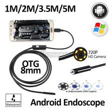 2MP 8mm HD720P Android OTG USB Endoscope Camera 5M 3.5M 2M 1M Flexible Snake USB Android Phone Borescope Camera
