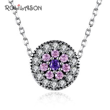 pure rose pink zircon white crystal 925 Silver necklace pendant for women DIY jewelry gift SP55 цена в Москве и Питере