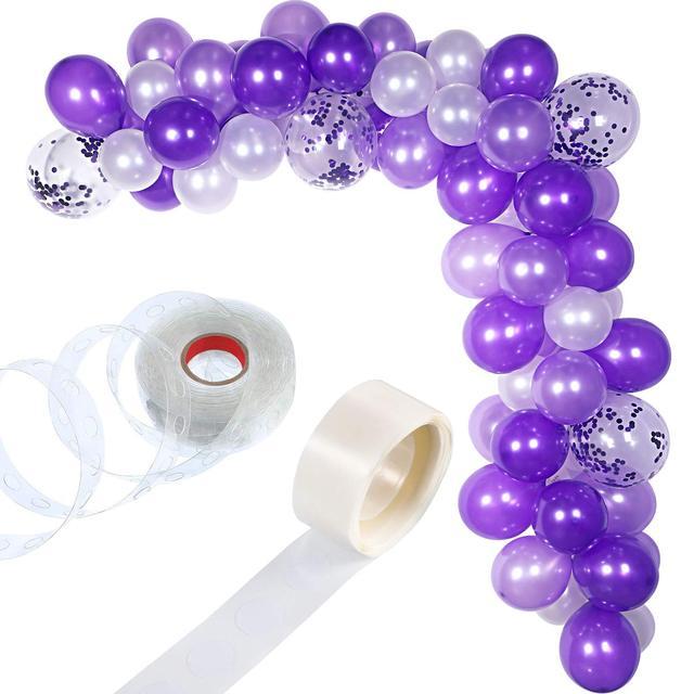 METABLE 100 Stück Ballon Girlande Kit Ballon Bogen Girlande für Hochzeit Geburtstag Party Dekorationen (Weiß Lila)