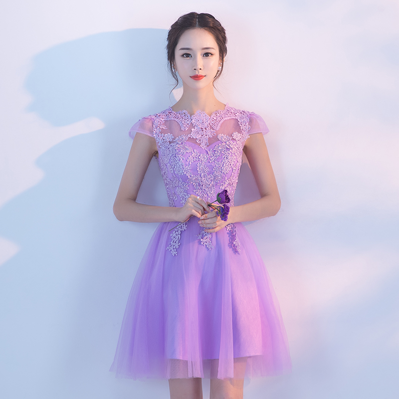 Beauty Emily light purple fairy vestido A Line formal short   Evening     Dress   Party Sweet princess Vestido De Festa Lace Prom Gowns