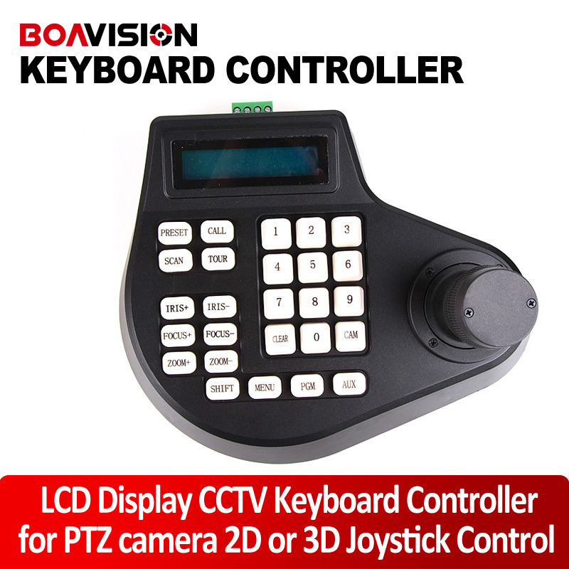 Speed Dome Keyboard CCTV Keyboard Controller LCD Display for PTZ camera 2D or 3D Joystick Control wholesale hvt 2601 3 5 tft lcd camera cctv poe tester ptz controller zoom dvr