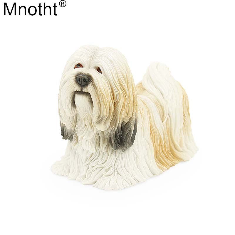 Mnotht Mini Size 1/6 Lhasa Apso Dog Model Simulation Dog Animal Resin Toy Scene Accessory for Action Figure Collection Gift m5n artificial resin grey poodle dog figure car styling home room decoration collection article christmas birthday gift toy