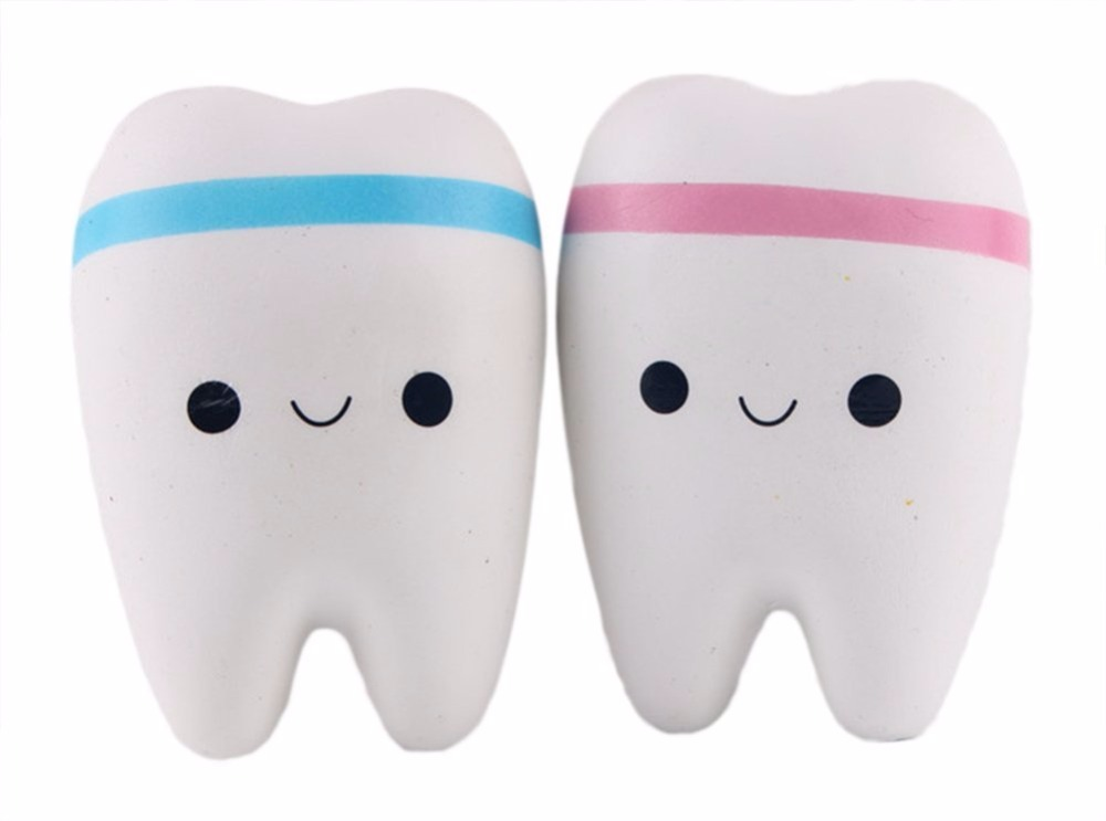 lovely Color Random Cute Cartoon Tooth Squishy Toys Slow Rebound Trendy Pendant for Bag Phone Etc