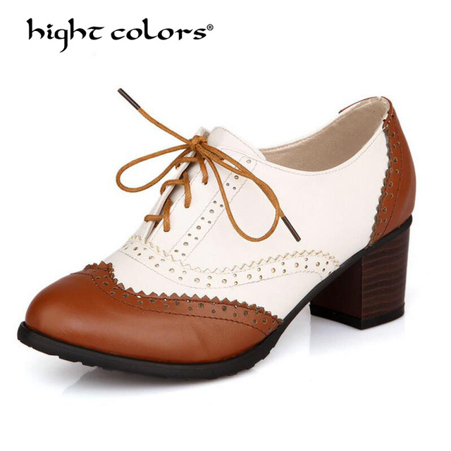 bb1af4338326 New Plus Size 34-43 Thick Heel High Heels Oxford Shoes For Women Fashion  Vintage British Style Lace Up Women Pumps Shoes Woman