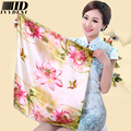 60*60cm 2016 Spring/Summer Small Square Silk Scarf Women Square Career Towel Foulard Silk Scarves Printing Flower Elegant Scarf