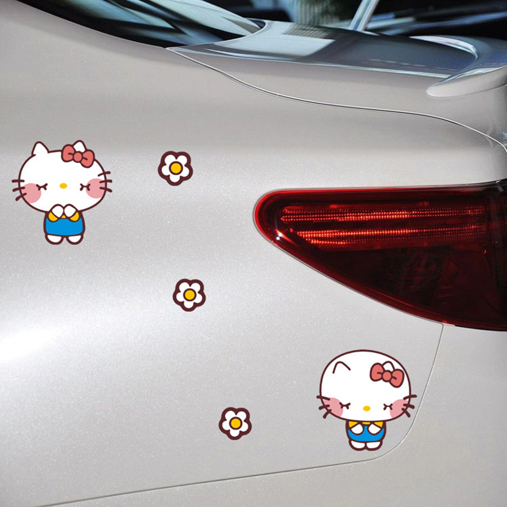 Aliauto car styling cartoon hello kitty bow funny car stickers cover scratches decal accessories for mercedes volkswagen golf