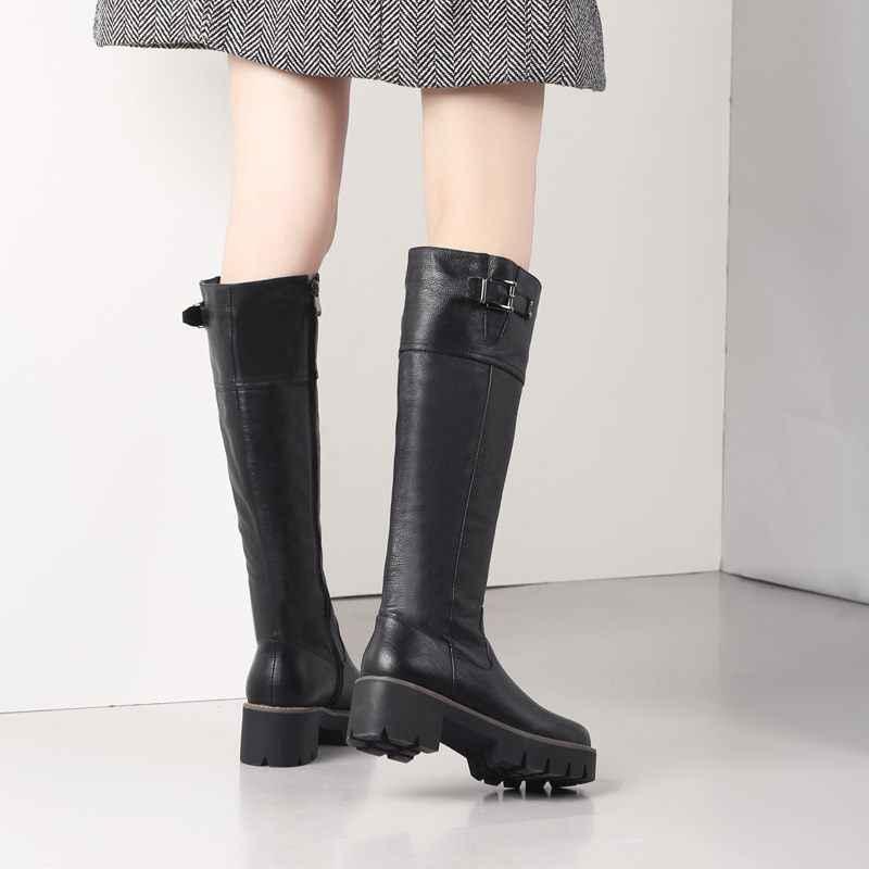 2020 Nieuwe Aankomst pu + echt lederen rijlaarzen vierkante med hak bont platform winter knie hoge laarzen vrouwen motorfiets laarzen