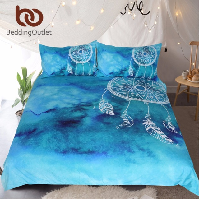 BeddingOutlet Watercolor Dreamcatcher Bedding Set King Blue Bedclothes for Adult Kids Luxury Chinese Style Quilt Cover 3 Pcs