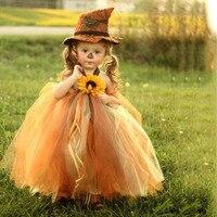 Scarecrow Christmas Girls Dress Sun Flower Halloween Kids Cosplay Outfits Costume Baby Girl Fall Tutu Dress