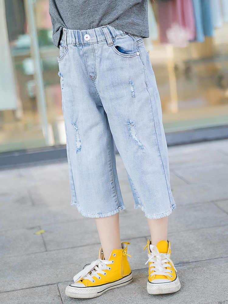 2020 bebek çocuk kız kot yürümeye başlayan kızlar kot pantolon moda pantolon kıyafetler çocuk giysileri Vestidos Jean Fille 8 10 12 14 yıl