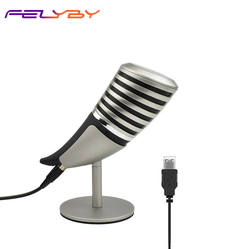 Professional 3.5mm+USB Wired Microphone Mobile Computer Game Capacitive MicrophoneProfessional 3.5mm+USB Wired Microphone Mobile Computer Game Capacitive Microphone