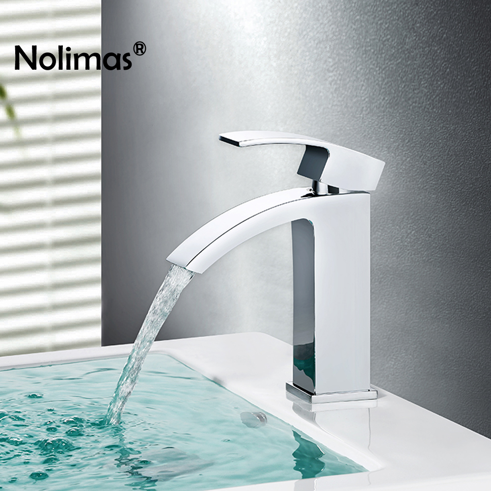 Brass Basin Faucet Chrome Single Hole Bathroom Sink Faucet Waterfall Basin Tap Cold Hot Water Tap Mixer Deck Mount Torneira best 3 pieces chrome waterfall spout two hot cold handle hose deck mount 55d bathtub torneira tap mixer faucet