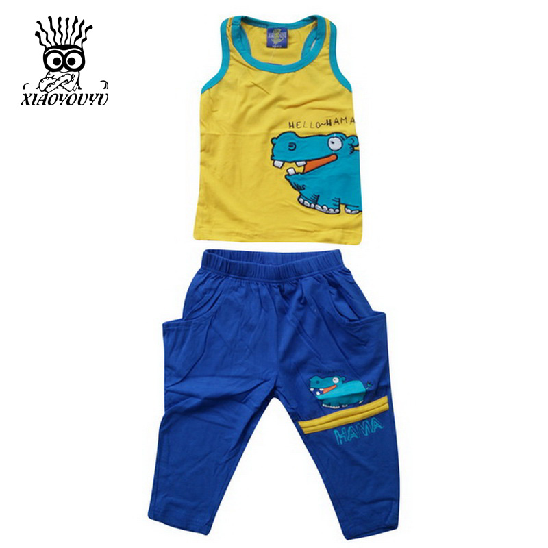 купить XIAOYOUYU Boy Summer Vest + Pants Clothing Set 2 PCS Kid Fashion Suit Size 100-140 Cozy Cotton Hippo Pattern Children Sport Suit дешево