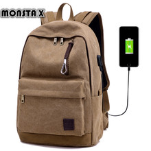 MONSTA X  USB Charge Backpack  Let Your Hands Free Casual Bag  School Bags Teenage Male Laptop  Multi functional Backpack