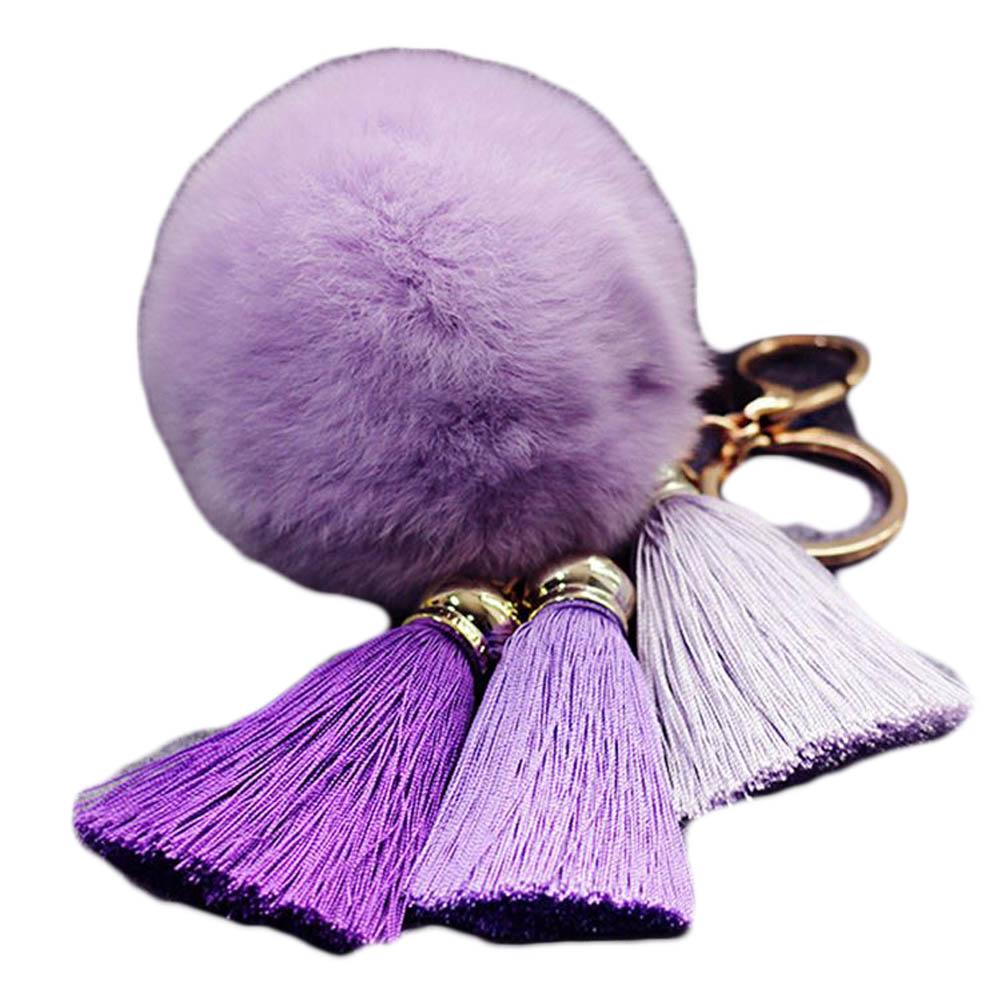 Creative Ice Silk Tassel Key Chain Women's Rabbit Wool Ball Keychain Car Romantic Alloy Key Chain For Handbag porte clef