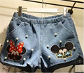 New 2016 Summer Style Plus Size Fashion Women Casual Slim Mickey Printed beading High Waist Shorts Denim Shorts
