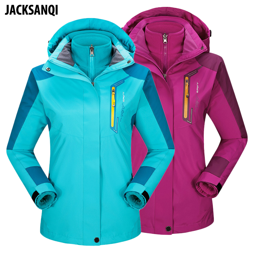 Jacksanqi Womens Winter 2 Pieces Fleece Softshell Outdoor Sport Jackets Hiking Climbing Trekking Windproof Thermal Coats Ra144 Invigorating Blood Circulation And Stopping Pains Hiking Jackets