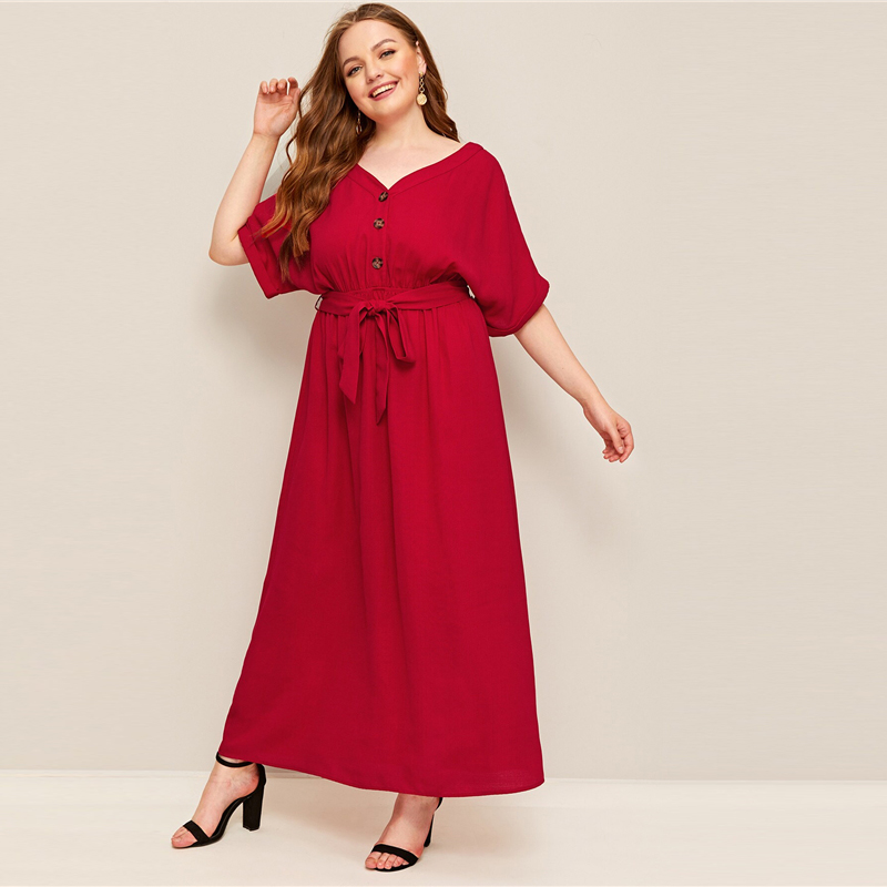 Red Plus Size Button Front Self Belted Maxi Dress