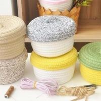 Handmade Cotton Woven Storage Baskets Nordic Style Storage Basket with lid Sundries sewing tools storage box organizer 1piece