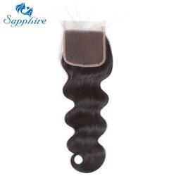 Сапфировое перуанское объемное волнистое Закрытие человеческих волос с детскими волосами бесплатная/Средняя/три части 4*4 закрытие