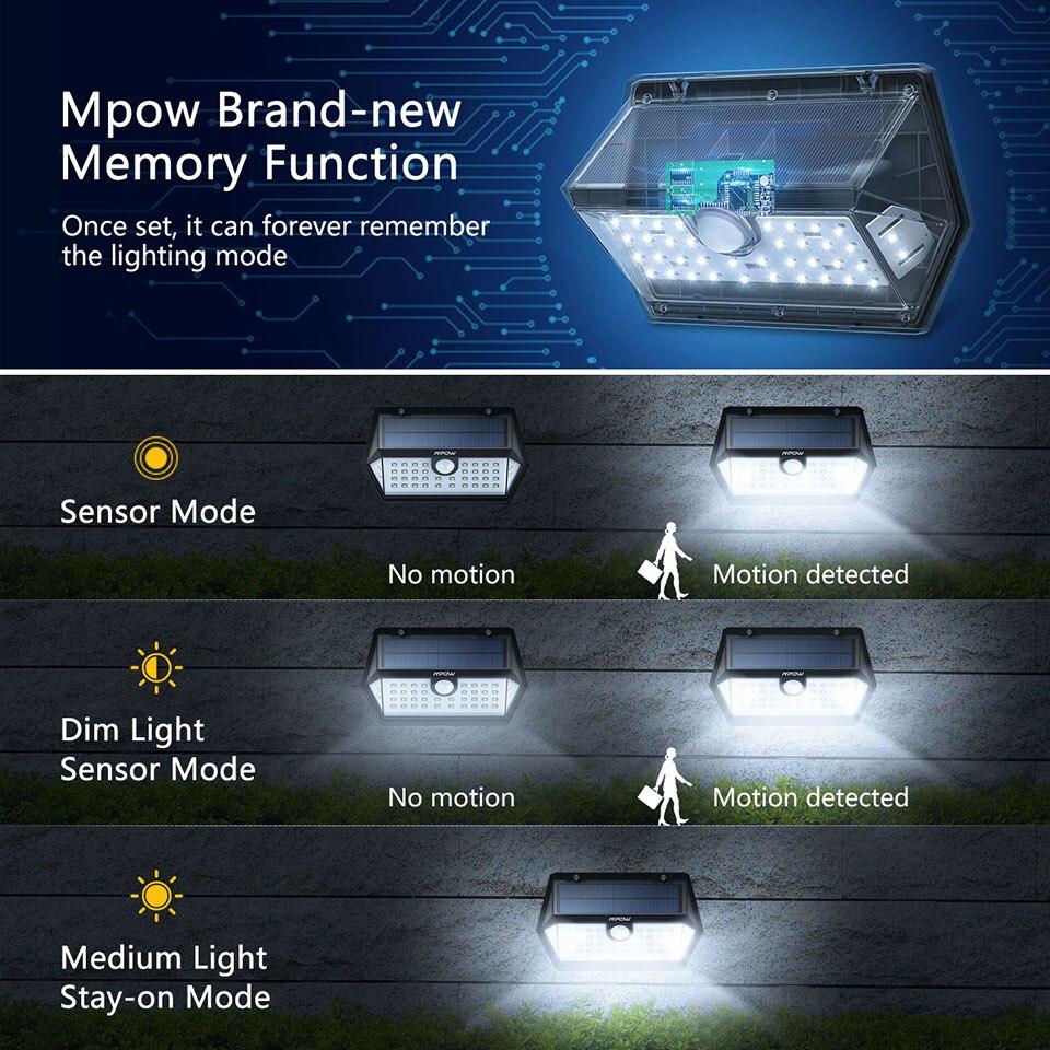 Mpow CD168 40 LED Solar Garden Light Outdoor IP65 Waterproof Brightness Adjustable Solar Lamps (4)