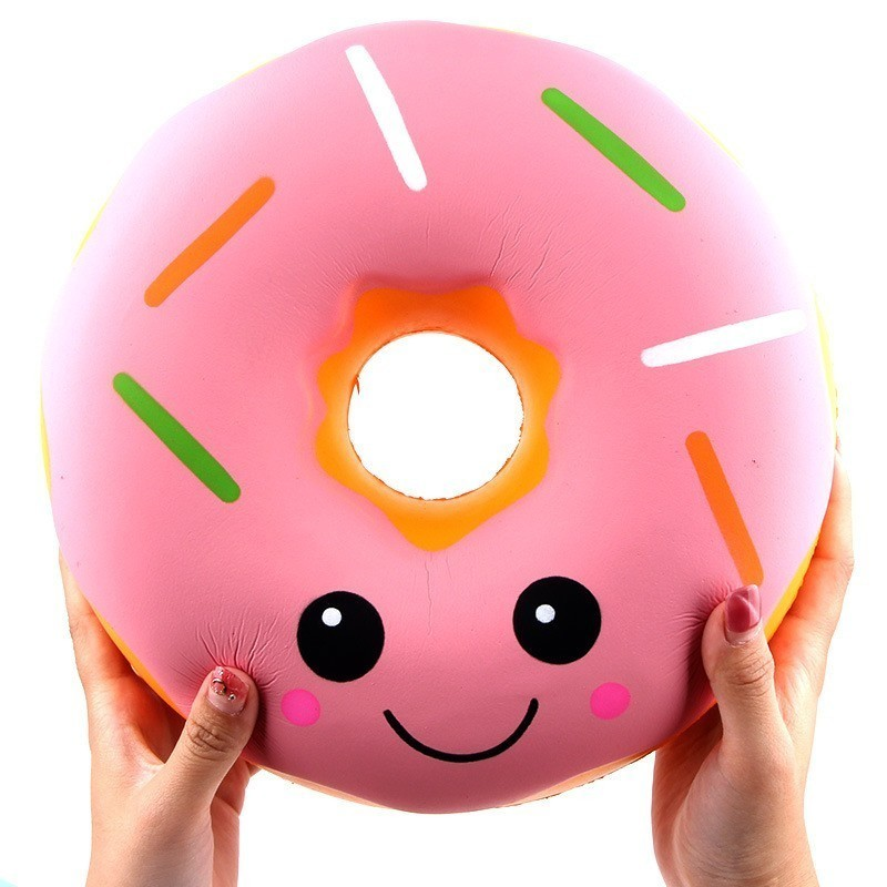 Us 240 25cm Big Blue Pink Smile Face Emoji Donut Squishy Jumbo Slow Rising Soft Squeeze Kawaii Squishies Toy Charm Cake Antistress Gift In Mobile