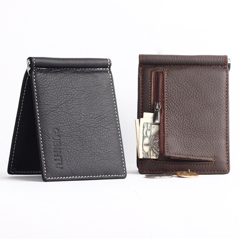 GUBINTU Portable Mini Men's Genuine leather Money Clip Wallet With Coin Pocket Small Card Cash Holder Metal Money Clamp For Male