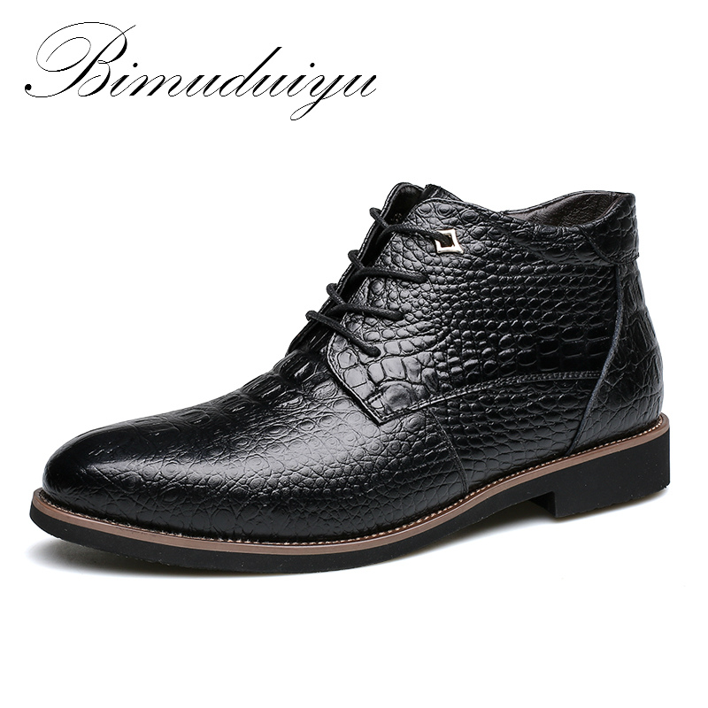 BIMUDUIYU/брендовые новые зимние модные мужские кожаные ботинки из крокодиловой кожи, очень теплые мужские зимние ботинки, непромокаемые зимни...