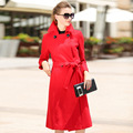 2016 new Europe and in autumn and winter the high-end red woolen collar self belt long wool coat for women