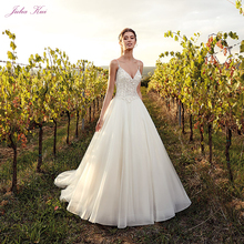 Julia Kui V-Neckline A-Line Wedding Dress With Spaghetti Straps Backless Simple vestido de novia