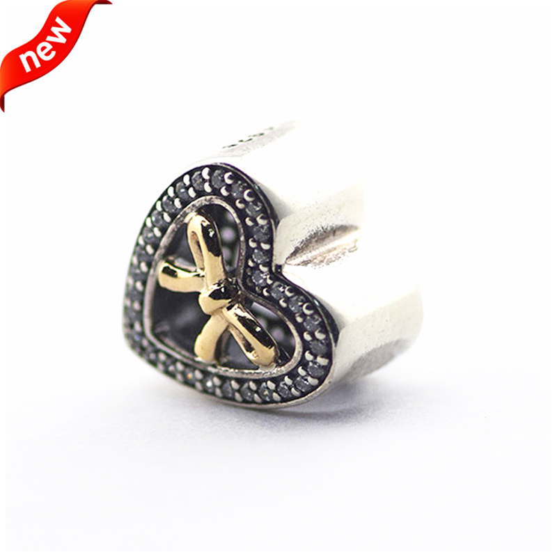 Fits for Pandora Bracelets Bound By Love Charms with 14K Gold Plated 100% 925 Sterling Silver Beads Free Shipping