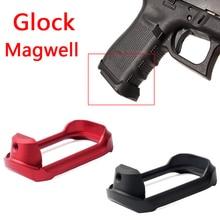 ยุทธวิธีอลูมิเนียม CNC Glock Mag   well Magwell Grip Adater ฐาน Pad สำหรับล่าสัตว์ Airsoft Glock 19 23 32 38 gen 3/4