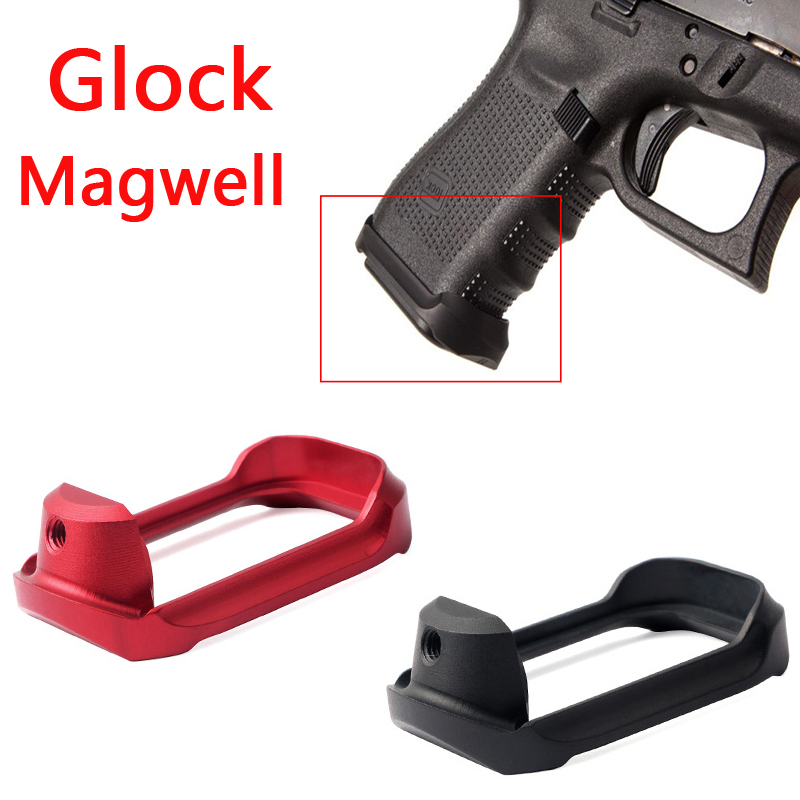 Tactical Aluminum CNC Glock Mag- well Magwell Grip Adater Base Pad for Hunting Airsoft Glock 19 23 32 38 Gen 3/4