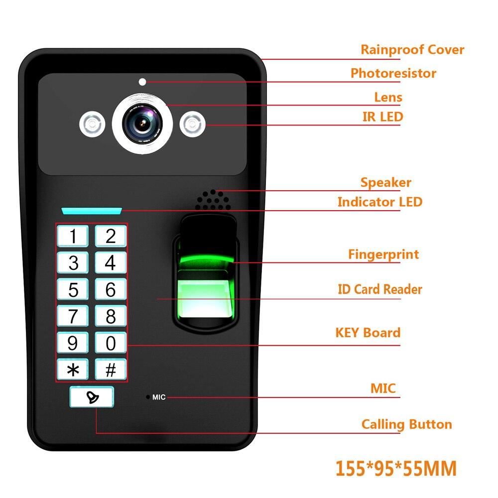 7inch Wired / Wireless Wifi Fingerprint RFID Password Video Door Phone Doorbell Intercom 1000TVL Wired Camera APP unlock Record