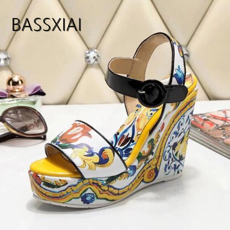 2019 Yellow Wedges Platform Sandals Women Open Toe Mixed Color Flower High HEEL Shoes Woman Party