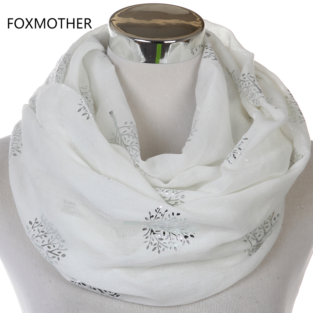 FOXMOTHER 2018 New Fashionable White Grey Glänsande Bronzing Silver Metallic Mulberry Tree Infinity Scarves För Kvinnor