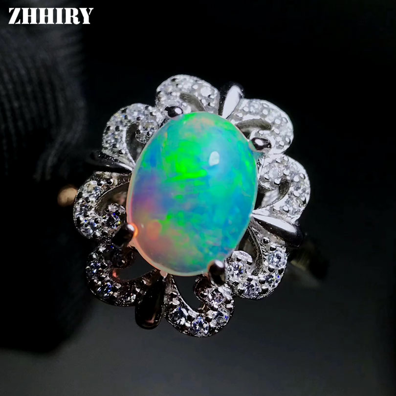 ZHHIRY Genuine Natural Fire Opal Ring Solid 925 Sterling Silver For Women Colour Gemstone Rings Fine