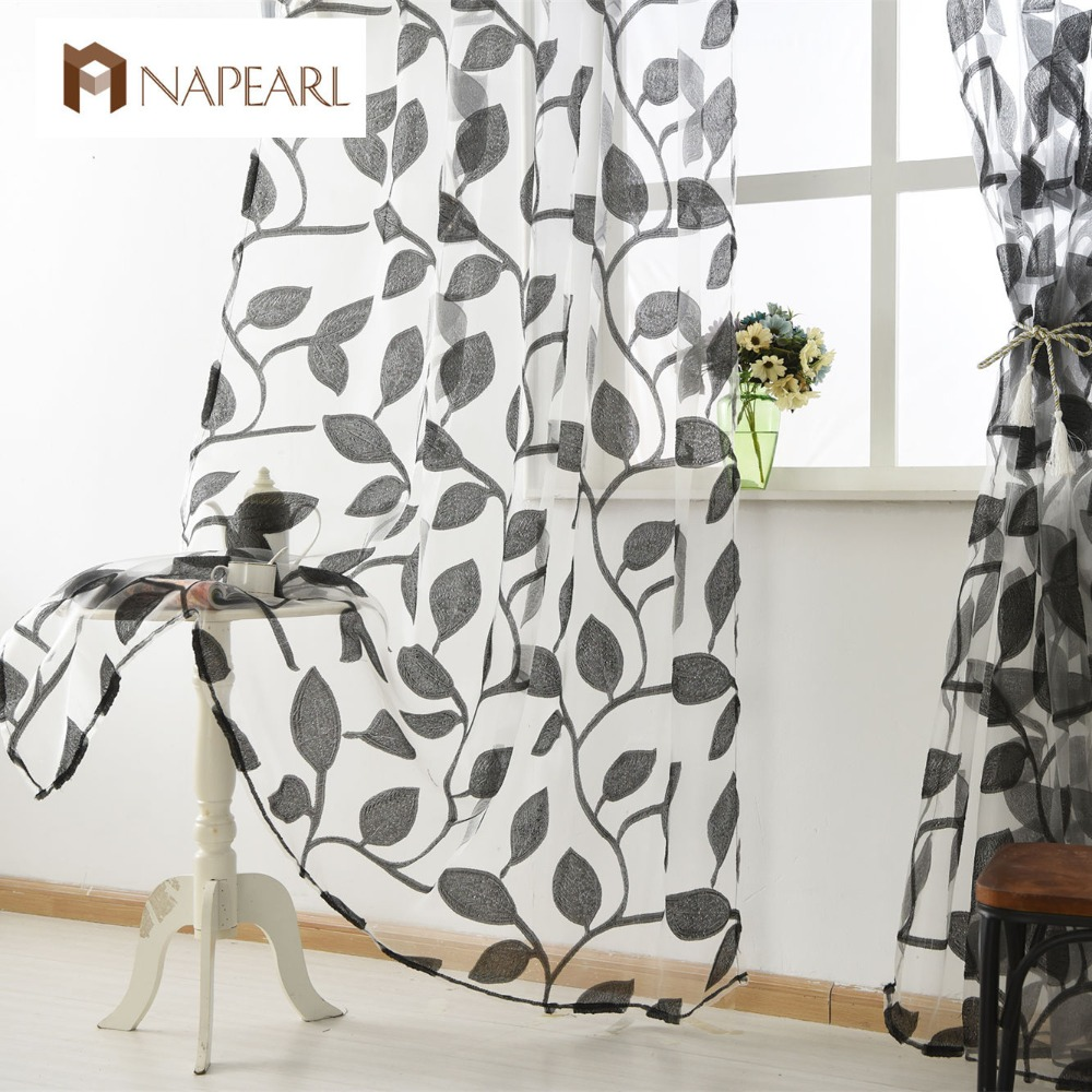 Organza Tulle Curtains Leaf Design White Sheer Fabrics Kitchen Door Curtains  Sheer Panel Transparent Window Curtain  Kitchen Door Curtains