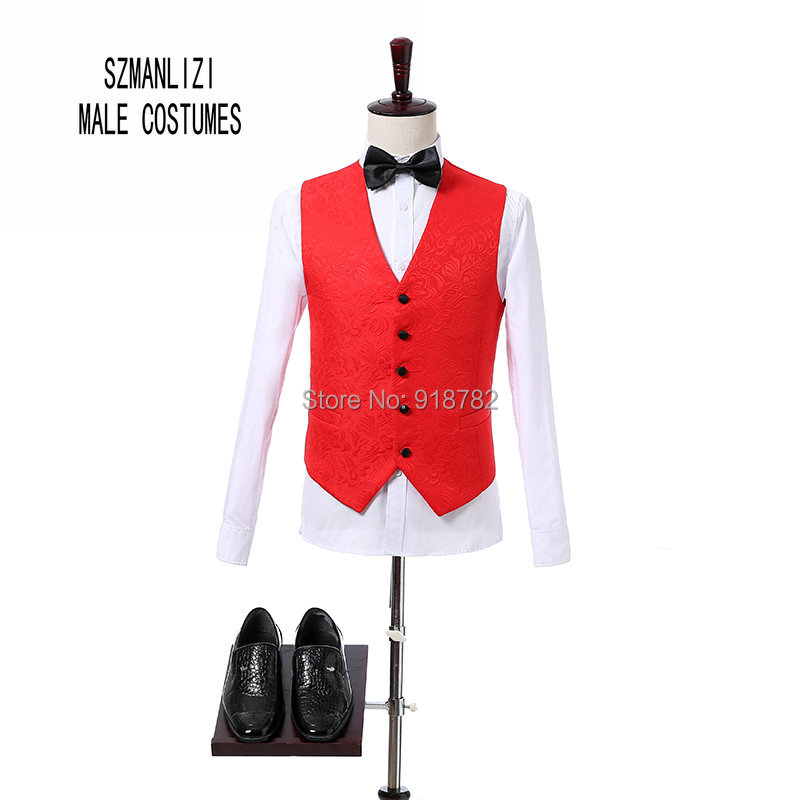 fb6f5452b Boda Trajes para hombres 2018 nuevo diseño del novio traje slim fit real  fotos rojo Bordado jacquard fiesta hombres traje smoking en Trajes de La  ropa de ...