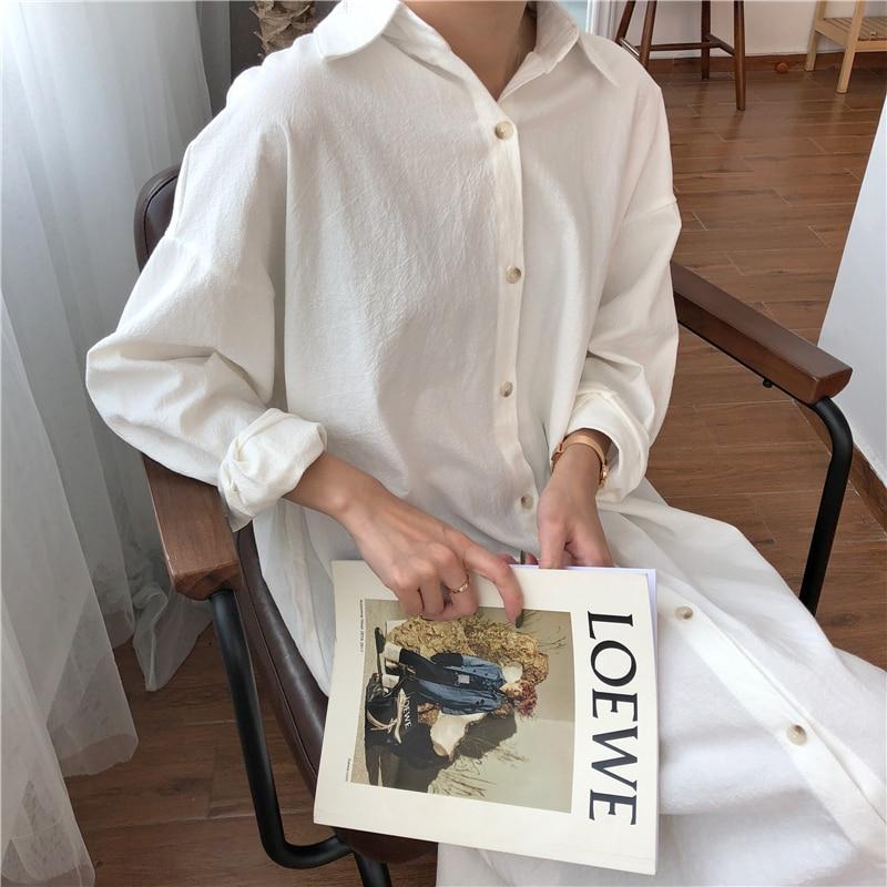 Vintage autumn Long Dress long Sleeve shirt turn down collar woman Lady loose shirt Casual Fashion maxi Dress cotton blue white