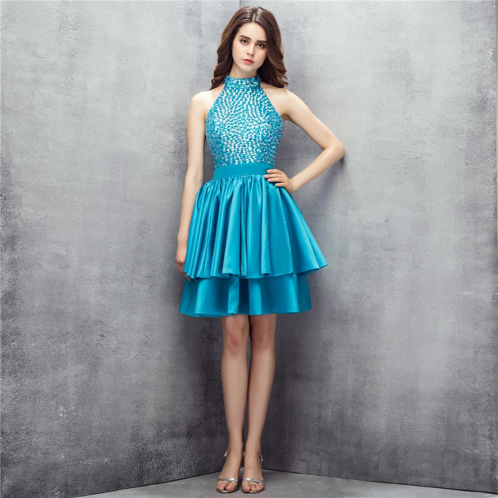 Halter High Neck Beaded   Cocktail     Dresses   Ruffles Satin Knee Length Short Prom Party Gowns