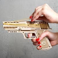 Деревянные машины Оружие Трансмиссия модель моделирования пистолет с резиновой лентой может даже волосы собрать деревянные головы ручной ...
