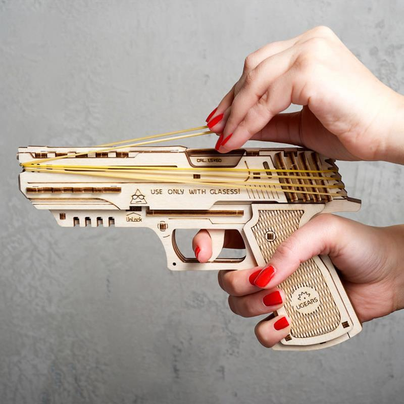 Woodiness Machine Weapon Transmission Model Simulation Rubber Band Gun Can Even Hair Assemble Wood Head Hand Gun