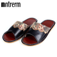 2016 Summer Leather Men Slippers Home Indoor Flat With Shoes European High Grade Non Slip Floor