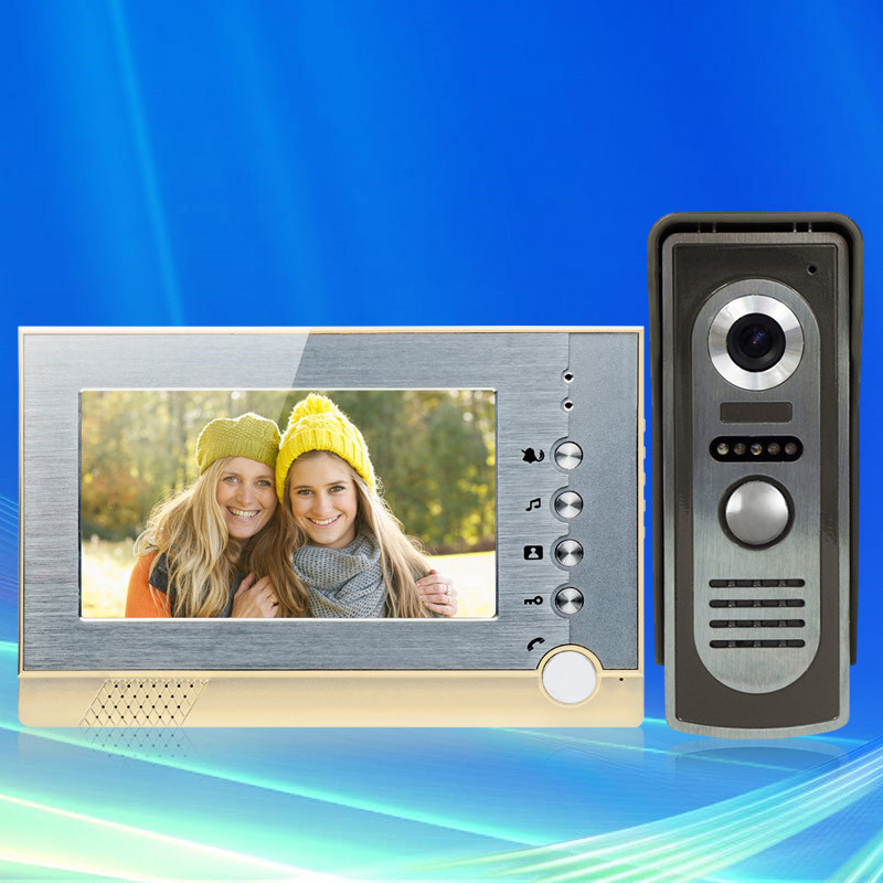 Wired color video intercom system 7inch SD card monitor screen with IR COMS outdoor camera recording video Free fast shipping brand new 7 inch color screen video doorphone sperakerphone intercom system 1 monitor 700tvl coms camera free shipping