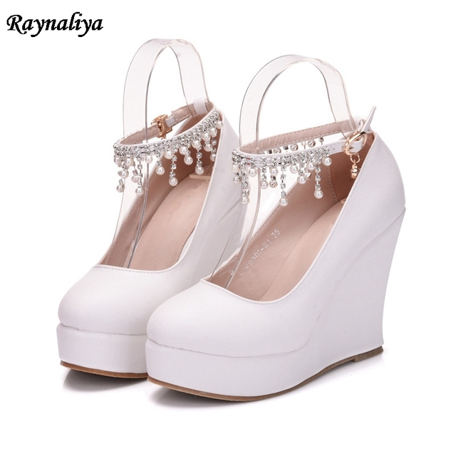 c53f9afb22 US $18.91 29% OFF|Ladies Sweet Shoes Cute Princess Party High Heels Plus  Size 33 42 White Rhinestone Buckle Fashion Wedges Shoes XY B0074-in Women's  ...