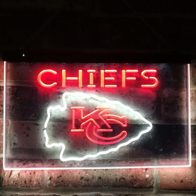 Kansas City Chiefs Football Bar Decor Dual Color Led Neon Sign St6